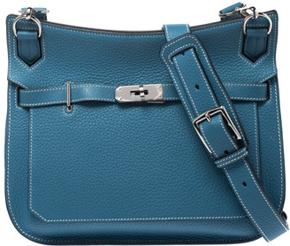 Hermes Blue Jean Clemence Leather Palladium Hardware Jypsiere 28 Bag