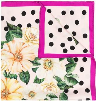 Dolce & Gabbana Floral Dot Silk Scarf
