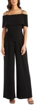 R & M Richards Embellished-Strap Cold-Shoulder Jumpsuit