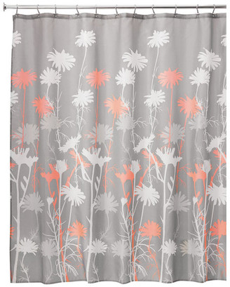 """Idesign iDesign Daizy Fabric Shower Curtain, 72""""x72"""", Gray and Coral"""