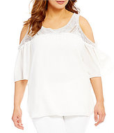 Gibson & Latimer Plus Crochet Yoke Cold-Shoulder Blouse