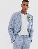 Asos DESIGN wedding skinny suit jacket in blue check in linen mix