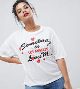 Asos Design Curve Relaxed T-Shirt With Someone Loves Me Print