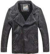 XiaoYouYu Big Boy's Cool Mandarin Collar Motorcycle Zip Jackets US Size 6 Style Brown