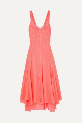 Charo Ruiz Ibiza Heart Crocheted Lace-paneled Cotton-blend Voile Dress - Coral