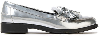 Tod's Tasseled Fringed Metallic Leather Loafers