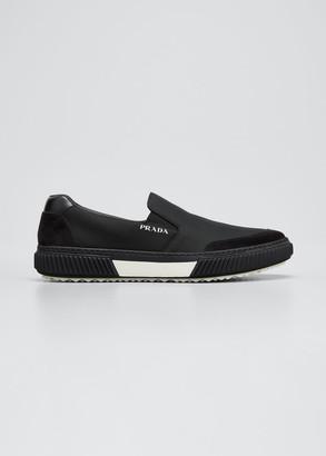 Prada Men's Logo Mesh Slip-On Sneakers