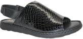 La Plume Black Croco Asbury Leather Sandal