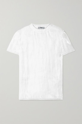 Prada Lace-trimmed Hammered-charmeuse Top - White