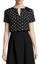 Carolina Herrera Polka-Dot Short-Sleeve Blouse, Black/White