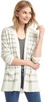 Stripe open-front cardigan