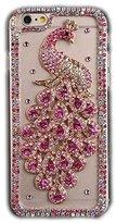 iPhone 6S Plus Case, Sense-TE Luxurious Crystal 3D Handmade Sparkle Diamond Rhinestone Cover with Retro Bowknot Anti Dust Plug - Brilliant Peacock / Hot Pink