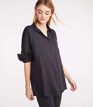 Lou & Grey Silky Twill Tie Front Shirt