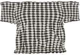 River Island Womens White gingham shirred bardot crop top