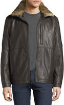 Andrew Marc Chatham Leather Jacket w/ Fur Collar