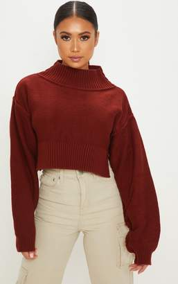 PrettyLittleThing Petite Rust Cropped Jumper