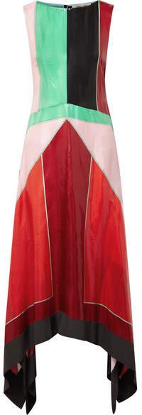 Diane von Furstenberg Asymmetric Color-block Textured-silk Maxi Dress