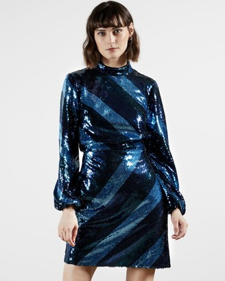 Ted Baker Striped Sequin Mini Dress
