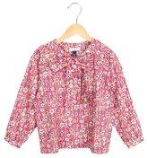 Oscar de la Renta Girls' Floral Print Tie-Accented Top