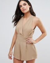 Love Halterneck Playsuit With Pleated Bust