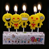 Cartoon Smile Face Emoji Candles Kids Happy Birthday Party Decoration Cake Toppers (1 set=5 pcs)
