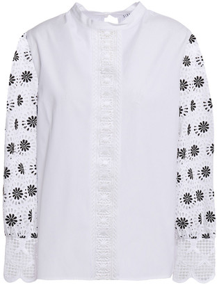 Claudie Pierlot Broderie Anglaise-paneled Lace-trimmed Cotton-poplin Blouse