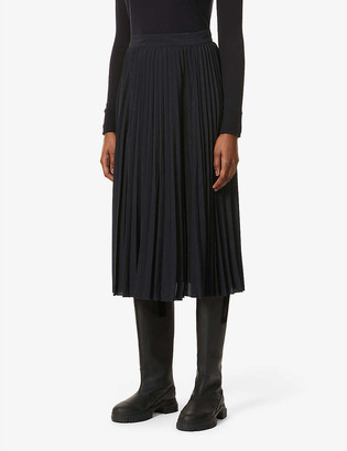 Sessun Nu Coleen pleated high-waisted woven midi skirt
