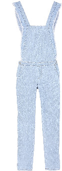 Emile and Ida - Jean Flare Ruffled Overalls Woman's Dungaree - m   blue - Blue/Grey/Blue