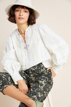Anthropologie Delilah Pleated Lace Peasant Blouse By in White Size 6