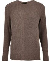 River Island Brown Stitch Block Jumper