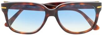 Valentino Pre-Owned 1990s Tortoiseshell Square Gradient Sunglasses