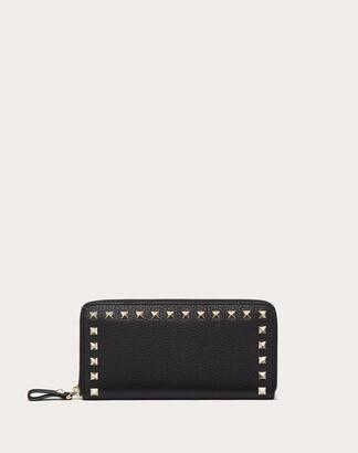 Valentino Large Rockstud Grainy Calfskin Wallet With Zipper Women Poudre 100% Pelle Di Vitello - Bos Taurus OneSize