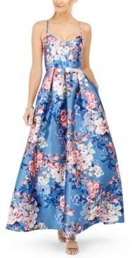 Eliza J Crisscross-Back Floral-Print Gown