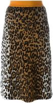 Stella McCartney cheetah print jacquard skirt - women - Polyamide/Viscose/Wool - 40