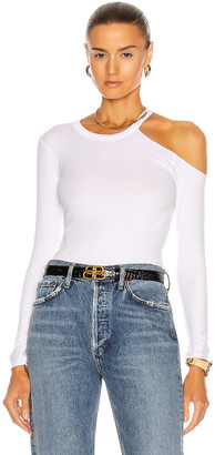 Enza Costa Exposed Shoulder Top in White | FWRD