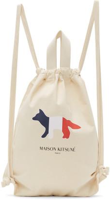MAISON KITSUNÉ Off-White Tricolor Fox Tote Backpack