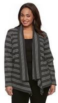 Dana Buchman Plus Size Stripes & Dots Open-Front Cardigan
