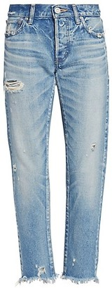 Moussy Kelley Mid-Rise Destroyed Tapered Cigarette Ankle Jeans