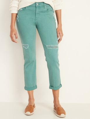 Old Navy Mid-Rise Distressed Pop-Color Boyfriend Straight Jeans for Women