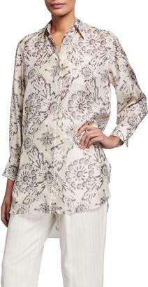 Brunello Cucinelli Printed Silk Long-Sleeve Tunic