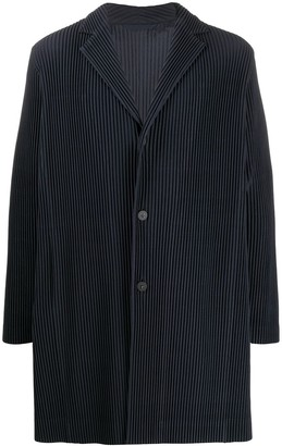Issey Miyake Homme Plissé ribbed button front light coat