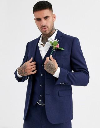Harry Brown wedding tweed heritage slim fit suit jacket-Navy