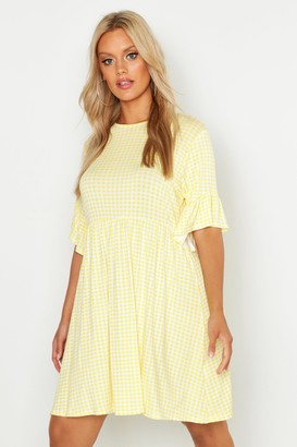 boohoo Plus Gingham Smock Dress