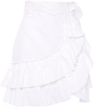 IRO Musk Tiered Ruffled Linen And Cotton-blend Mini Skirt
