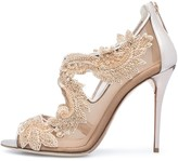 Oscar de la Renta Rose Gold Lace Embroidered Ambria Sandals