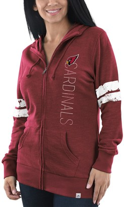 Majestic Women's Heathered Cardinal Arizona Cardinals Athletic Tradition Full-Zip Hoodie