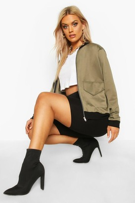 boohoo Plus Pocket Front Contrast Lined Bomber Jacket