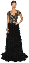 Marchesa Threadwork and Jet Crystal Embroidered A-Line Gown with Fringed Feather Skirt Women's Dress