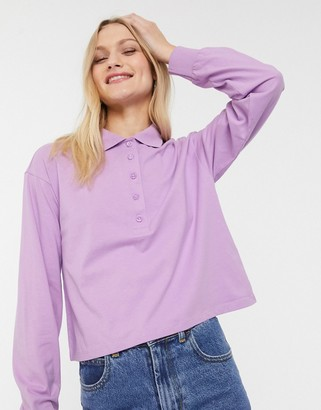 Monki crop rugby shirt in lilac-Purple