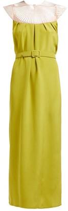 Marta Ferri - Embroidered-yoke Silk-satin Midi Dress - Green
